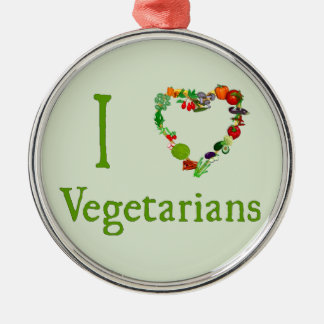 I Heart Vegetarians Christmas Tree Ornament