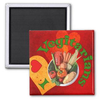 I Heart Vegetarians Square Magnet