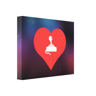 I Heart Video Game Controls Icon Stretched Canvas Print