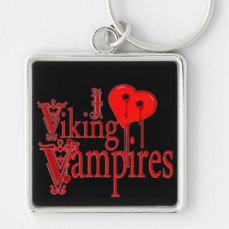 I Heart Viking Vampires Silver-Colored Square Key Ring