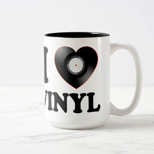I HEART VINYL Two-Tone COFFEE MUG