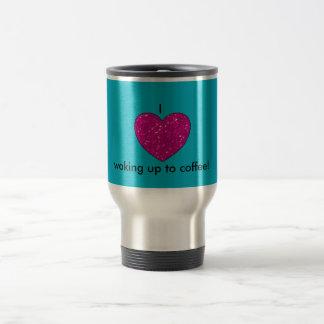 I heart waking up to coffee mug