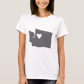 I Heart Washington Grunge Look Outline State Love T-Shirt