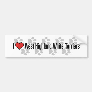 I (heart) West Highland White Terriers Bumper Stickers