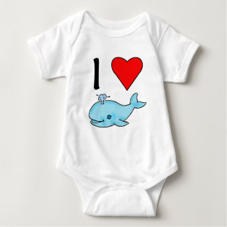 I Heart Whales I Love Whales Baby Bodysuit