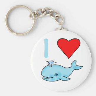 I Heart Whales Products Basic Round Button Key Ring