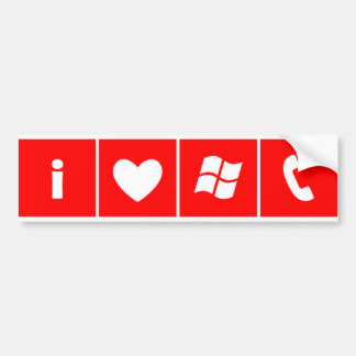I Heart Windows Phone bumper sticker in RED