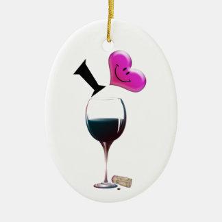 I Heart Wine Christmas Ornament