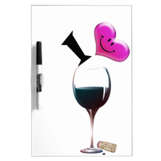 I Heart Wine Dry Erase Board