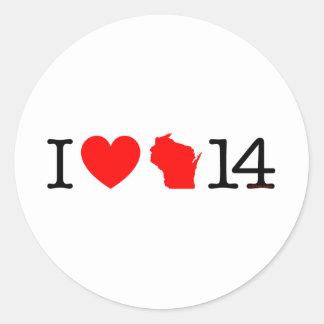 I Heart Wisconsin 14 Classic Round Sticker