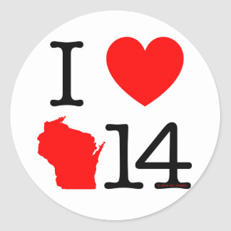 I Heart Wisconsin 14 Classic Round Sticker