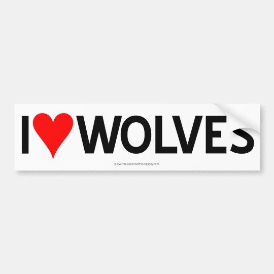 I Heart Wolves Bumper Sticker