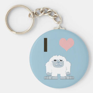 I heart yeti basic round button key ring