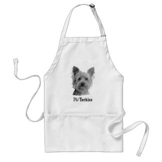 I Heart Yorkies With Image Standard Apron