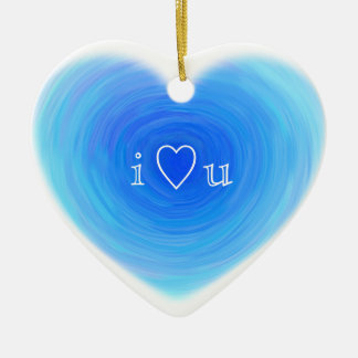 I Heart You Deep Blue Water Heart Love in Blue Ceramic Heart Decoration