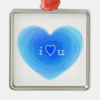 I Heart You Deep Blue Water Heart Love in Blue Silver-Colored Square Decoration