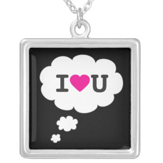 i heart you square pendant necklace
