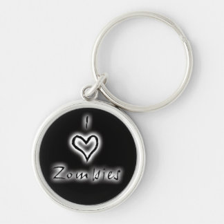 I heart zombies key chain (white glow)