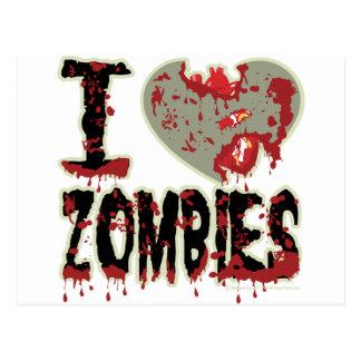 i heart zombies postcard