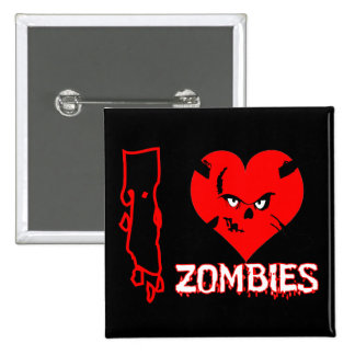 I heart zombies - Square Button
