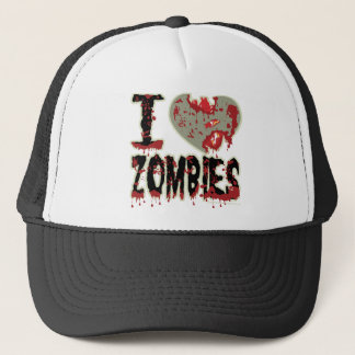 i heart zombies trucker hat