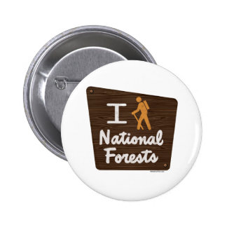 I HIKE NATIONAL FORESTS 6 CM ROUND BADGE