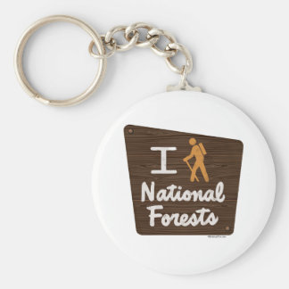 I HIKE NATIONAL FORESTS BASIC ROUND BUTTON KEY RING