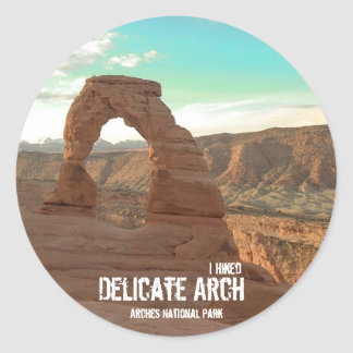 I Hiked Delicate Arch-Arches National Park-Sticker Classic Round Sticker