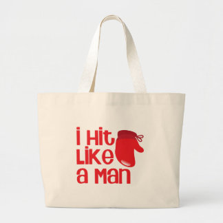 I hit like a man with red boxing glove jumbo tote bag