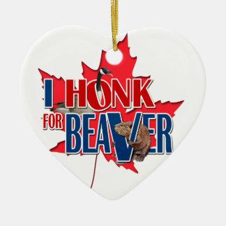 I Honk For Beaver Ceramic Heart Decoration