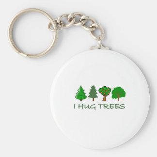I Hug Trees Basic Round Button Key Ring