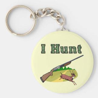 I Hunt Basic Round Button Key Ring