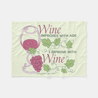 I Improve With Wine Design Fleece Blanket