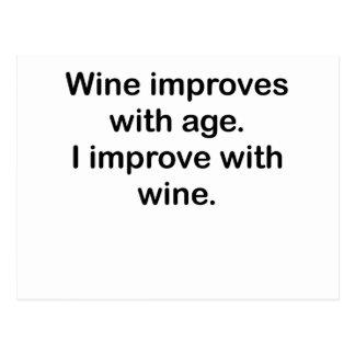 I Improve With Wine Postcard