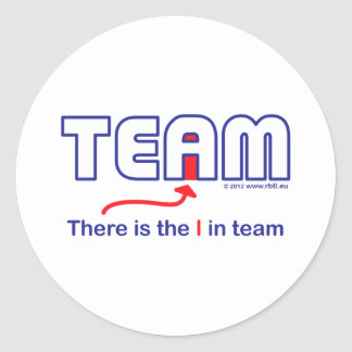 i in team white.pdf classic round sticker