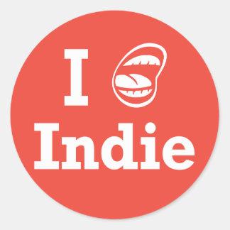 I ☺ Indie Round Stickers