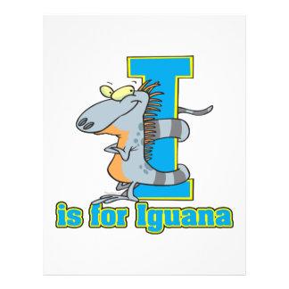 I is for iguana letter abc cartoon flyer design
