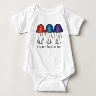 I is for Italian Ice Shaved Snocone Sno Cone Food Baby Bodysuit
