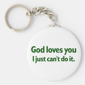 I just can't love you basic round button key ring