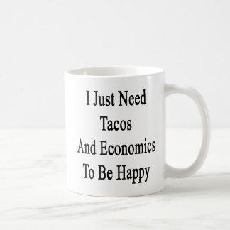 I Just Need Tacos And Economics To Be Happy Basic White Mug