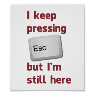 I Keep Pressing The Escape Key But I m Still Here Poster