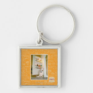 I keepz ur beerz Silver-Colored square key ring