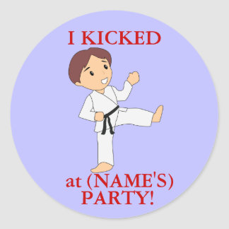 I Kicked party stickers