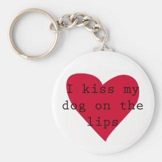 I kiss my dog on the lips basic round button key ring
