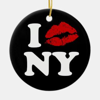 I Kiss New York Christmas Ornament