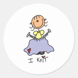 I Knit Classic Round Sticker