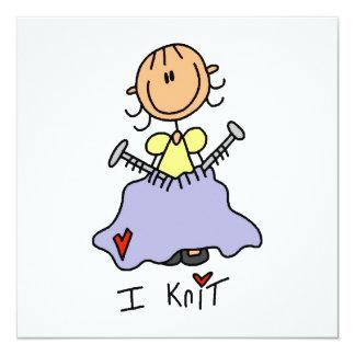 I Knit 13 Cm X 13 Cm Square Invitation Card
