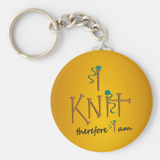 I Knit Therefore I Am With Knitting Needles & Yarn Basic Round Button Key Ring