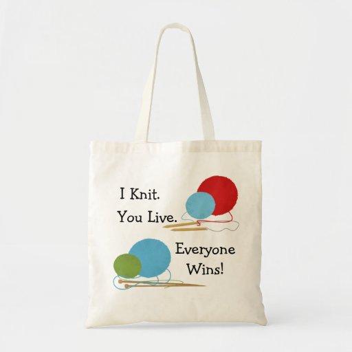 I Knit, You Live Funny Knitting Design Tote Bag