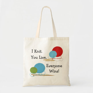 I Knit, You Live Funny Knitting Design Budget Tote Bag